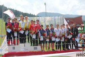 NZ Men's team on the Podium -6th place  JWOC 2014 Relay