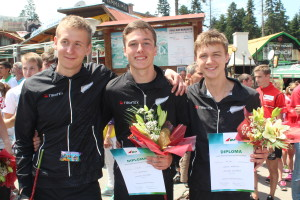 Nick Hann, Tim Robertson & Shamus Morrison celebrating their successful relay result.