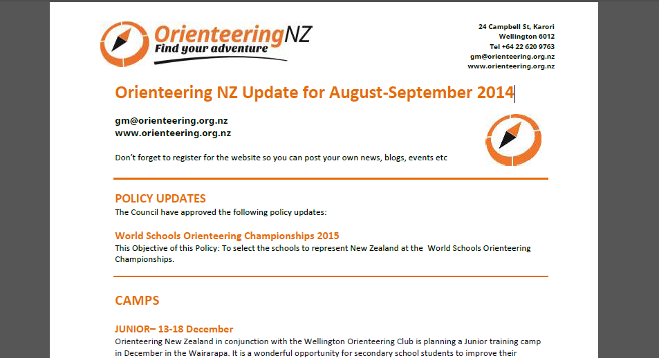 Orienteering NZ September Newsletter