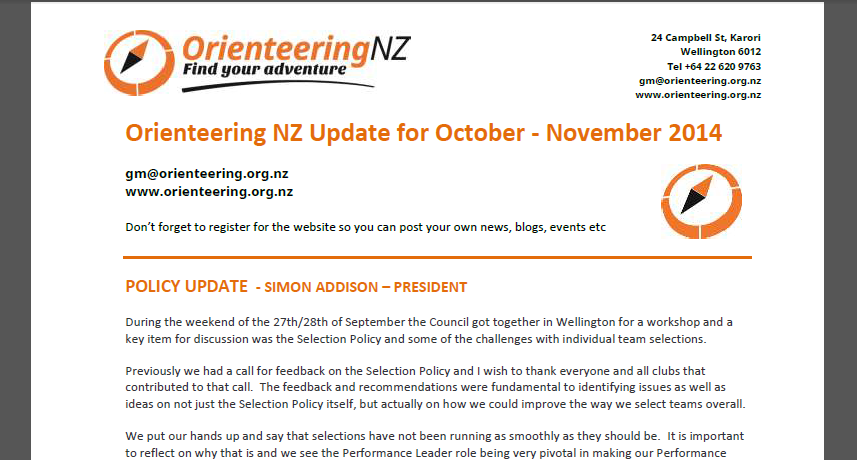 ONZ Update Oct - Nov 2014