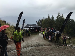 A wet and cold finish at the top of the Gondola