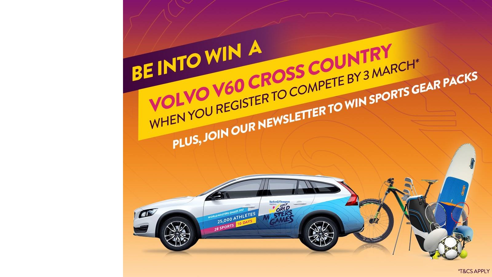 Be into Win a Volvo v60 Cross Country when you register to compete by 3 March 2017