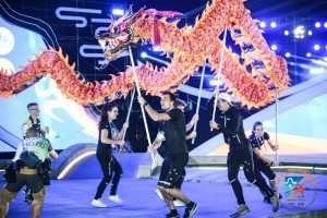 Team NZL doing a dragon dance at the opening ceremony