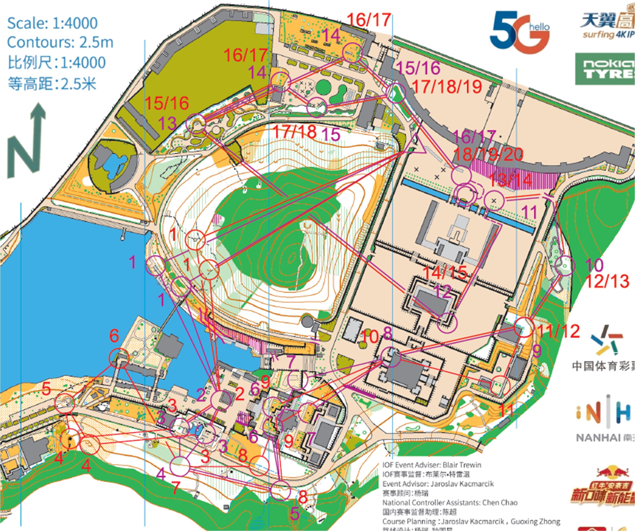 World Cup sprint relay – women's courses in purple, men's in red
