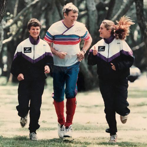Peter Snell running with New Zealand Elite Orienteers Marquita Geldermann and Tania Larsen (nee Robinson) in the 1995/96.